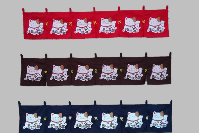 (Customized Size Accept) Korea/Japan/China Sushi Restaurant Kitchen Hanging 6 Combine Linen Curtain-Lucky Cat(210*40cm)