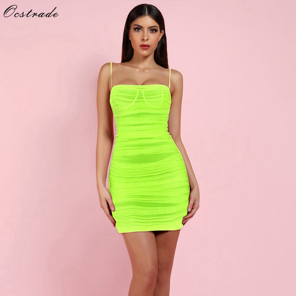 Ocstrade New Arrival 2019 Women Neon Green Ruched Organza Mesh Mini Club Party Bodycon Dress
