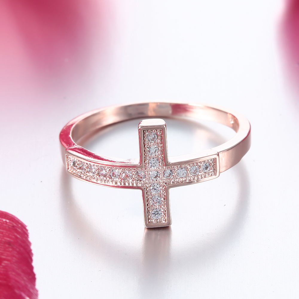 DOULAIMEI Real 925 Sterling Silver Rose Gold God Bless UCross Finger Ring Bridal Women Girl Boy Friend Lovers Fine Jewelry Gift