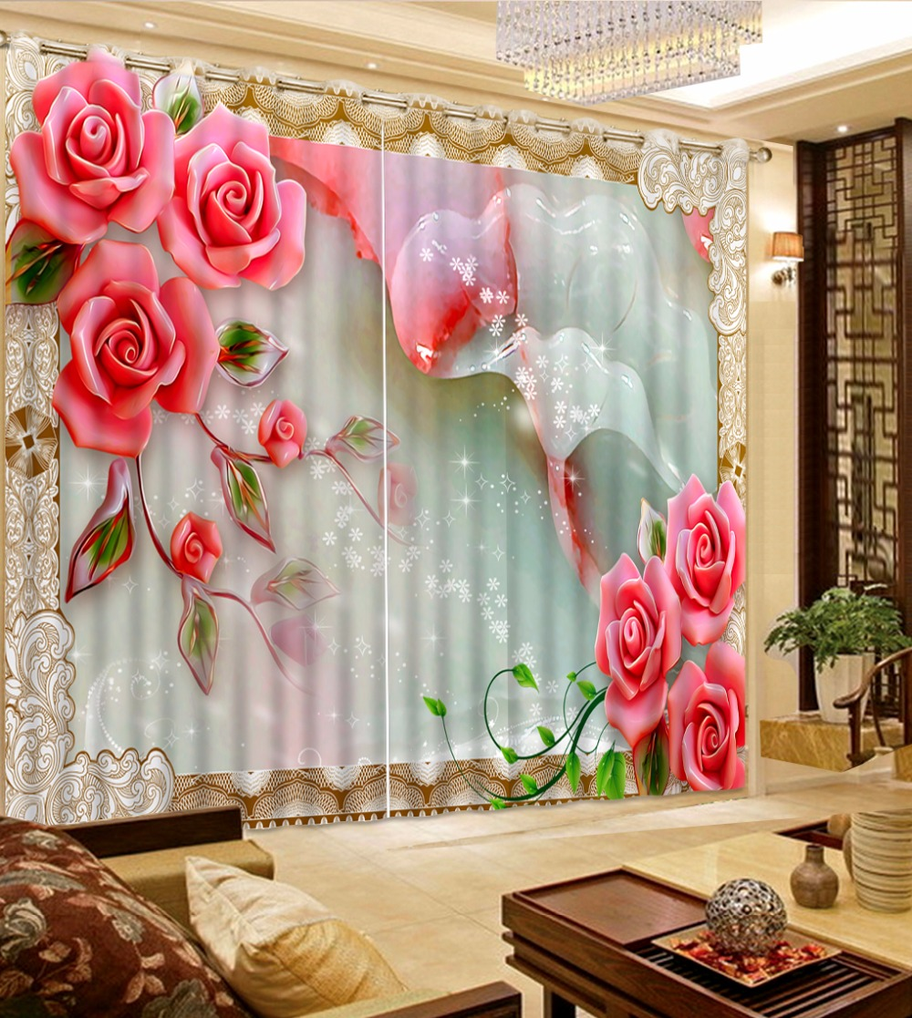 Blackout Kitchen Curtains Polyester Valance Tiers 3: Red Rose 3D Printing Curtain For The Living Room Polyester