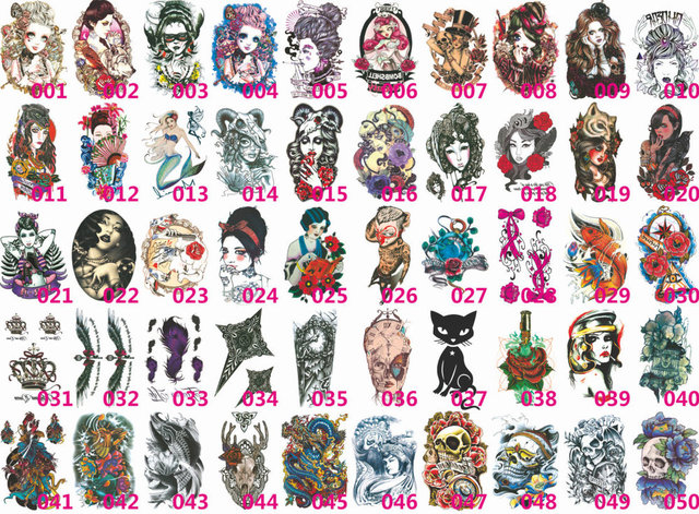 205 style all blue high quality fashion waterproof tattoo stickers skull rose