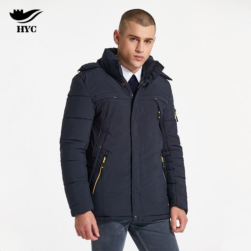 HAI YU CHENG Winter Jacket Men Wadded Parka Male Wind Breaker Long Trench Coat Plus Size Men Coat Outerwear Hood Winter Anorak
