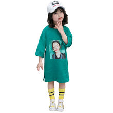 Princess Long Style T-shirts for Girls Letter Print Side Slit Kids T Shirt for Girls Spring Autumn Tee Tops White Green Color цена 2017