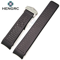 HENGRC 22mm 24mm Silicone Watchbands Sport Diving Holes Curved End Silicone Watch Strap Deployment Clasp Buckle