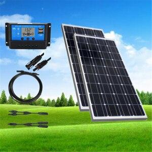 2 шт. 100 Вт солнечная панель 200 Вт монокристаллическая Кремниевая Солнечная система Комплект 20A ЖК-контроллер 12 В система заряда батареи