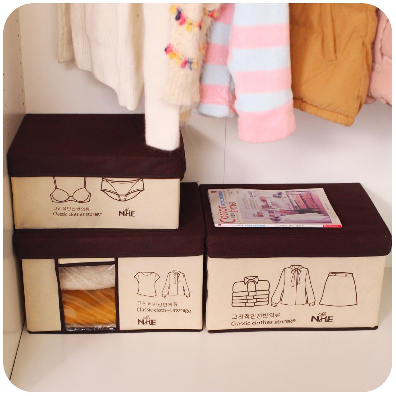 Large Folding Clothes Organizer Box Non woven Fabric Closet Organizer Storage Box For Toys