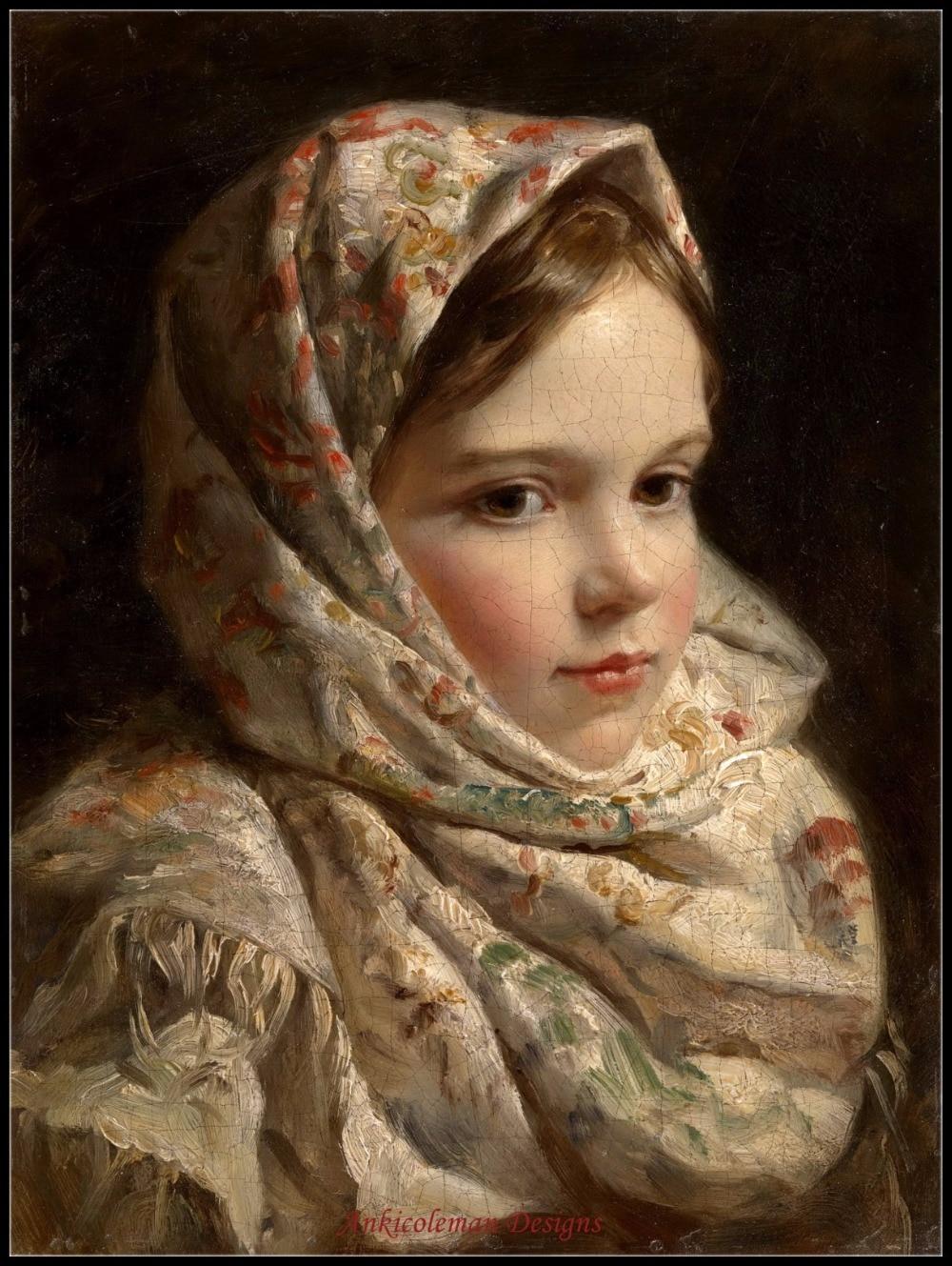 Рукоделие для вышивания сделай сам DMC высокое качество-счетные наборы для вышивки крестом 14 ct картина маслом-девочка в шарфе