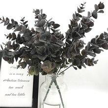 Spray de folhas de plástico eucalipto artificial, 35cm, plantas prateadas, spray para festas de casamento, decoração de festa de fim de ano