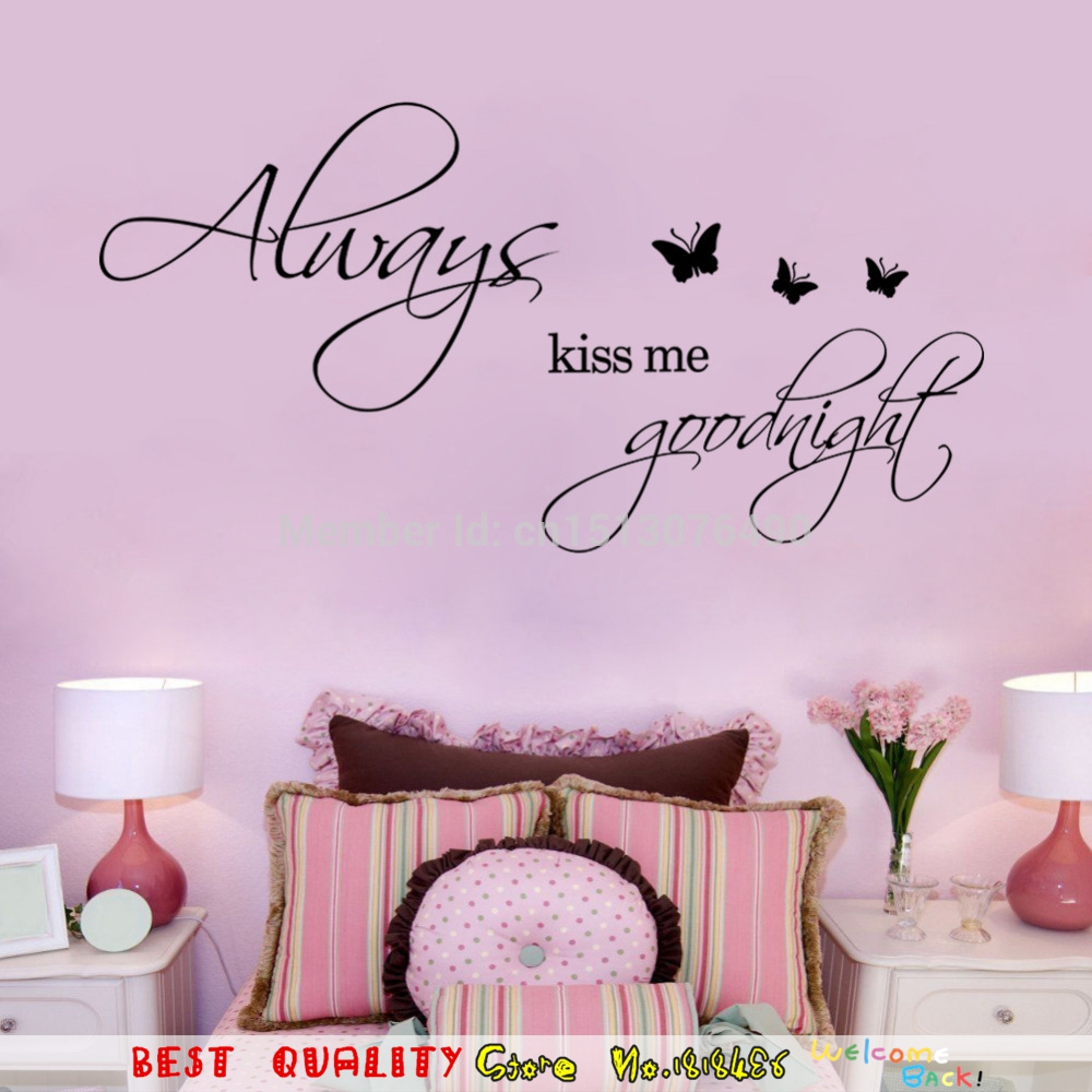 Aliexpress.com : Buy Always Kiss Me Goodnight Butterflies Wall Stickers 3D  DIY Removable Wallpaper Mural Art Vinyl Quote Sofa Home Decoration From  Reliable ... Part 73