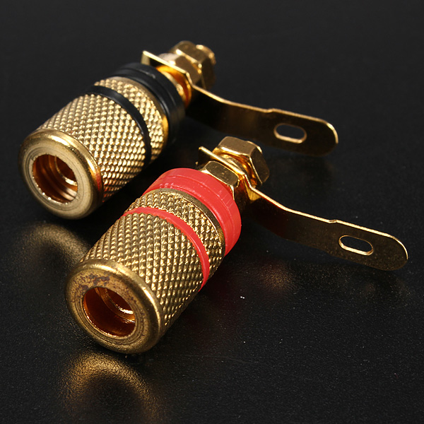 Amplifier Speaker Terminal Binding Post Banana Plug Socket Connector 2x Gold Plated Suitable for 4mm banana plugs