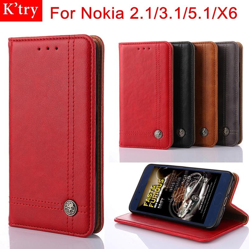 For Nokia 3.1 Case Nokia 2.1 Cover Nokia 5.1 Coque PU Leather Retro Flip Fashion Wallet Cases For Nokia X6 Stand Card Holder