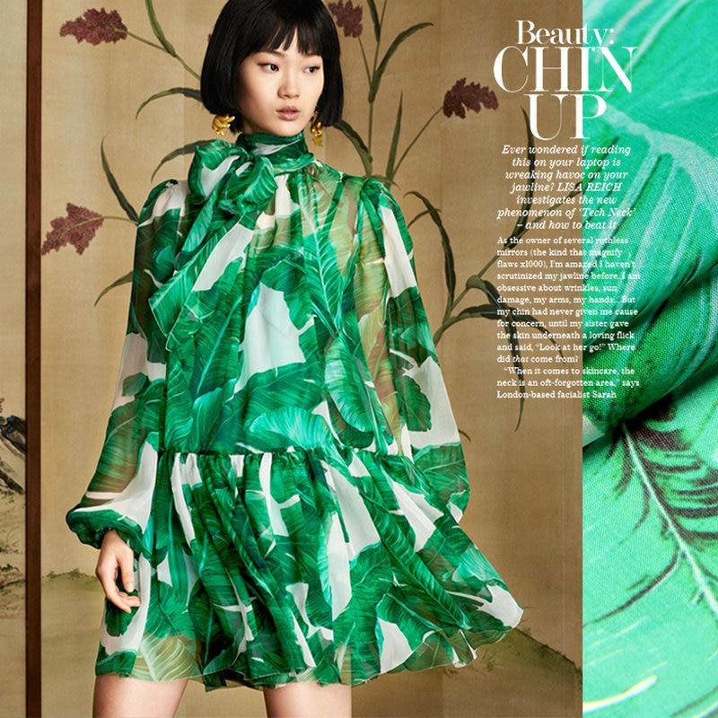 8m/m,135CM green leaves digital printed silk chiffon fabrics