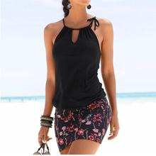 Women Elastic Waist Printed Piecing Summer Beach Dress Slim Halter Strap Sleeveless Sexy Mini Dress V-neck robe femme ete 2018