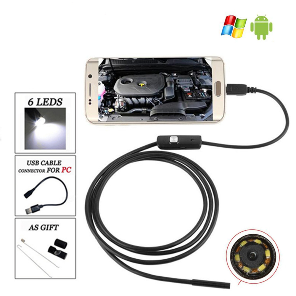 1M 5.5mm Endoscope Camera Waterproof 6 LED Borescope Inspection Camera USB Android Endoscope 7mm lens mini usb android endoscope camera waterproof snake tube 2m inspection micro usb borescope android phone endoskop camera