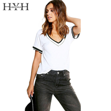 HYH Haoyihui 2018 New Fashion Short Sleeve T-shirt Women Casual Cotton V-neck Striped Tops Preppy White Black Female Summer