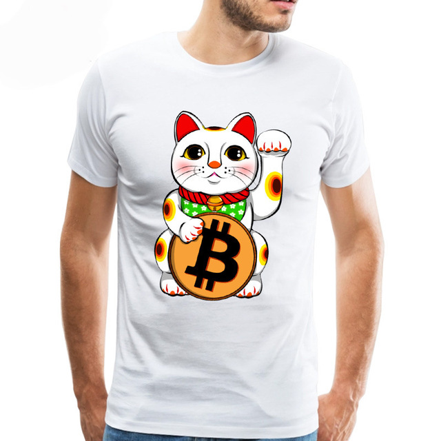 Awesome Retro Bitcoin TShirt Men Crewneck Printed Cryptocurrency Tee shirt Club Gift T shirt top tee