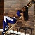 Roupas para fitness 2 peça set 2016 mulheres legging terno leggings conjunto de sutiã top colheita fêmea calças trabalhar fora yogawear roupas
