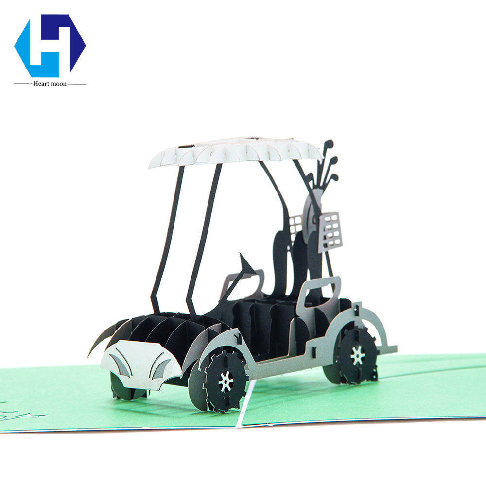 Golf cart 3D pop up greeting card laser cutting envelope postcard hollow carved kirigami Creative gifts 10pcs/lot Wholesale