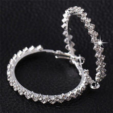 2018 Fashion Charm crystal hoop earrings Geometric Round Shiny rhinestone big jewelry women(China)
