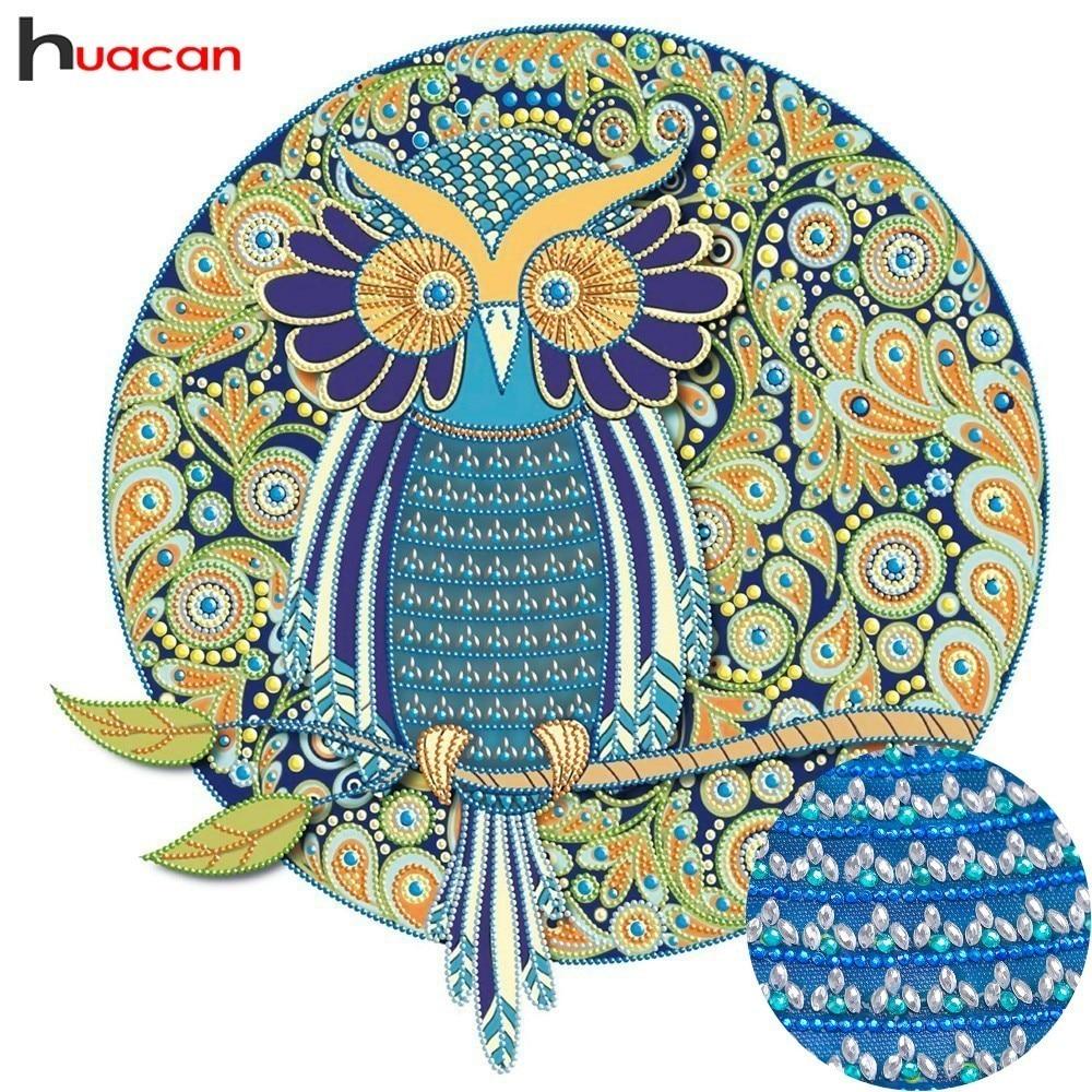 Huacan Spezielle Förmigen Diamant Malerei Tier Bild Von Strass Mosaik Diy Handwerk Diamant Stickerei Eule 44x44 cm