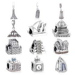 Бусина знаменитого булидинга в мире Подходит для европейских шармов Серебро 925 оригинальный браслет Изготовление ювелирных изделий 30