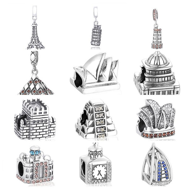 The Bead of the famous buliding in The world Fit European charms silver 925 original Bracelet jewelry making 30