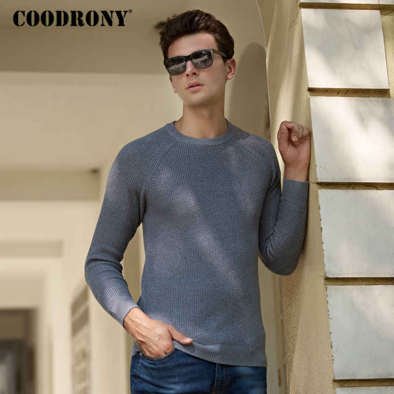COODRONY Brand Cotton Sweaters Thick Warm Pullover Men Winter Christmas Sweater Men Slim Fit O-Neck Knitted Wool Pull Homme 8205