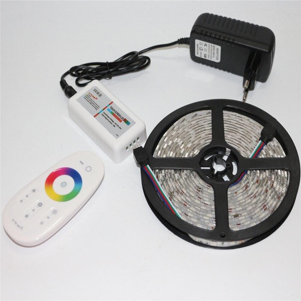 5M 300Leds 12V SMD 5050 RGB LED Strip Light  + 2.4G RF Remote Controller + DC 12V 3A Power Supply Adapter EU / US / AU / UK Plug