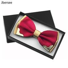 Jbersee Luxury Boutique Fashion Metal Bow Ties for Men Women Wedding Party Butterfly Bowtie Gravata Slim Black Bow Tie Cravat