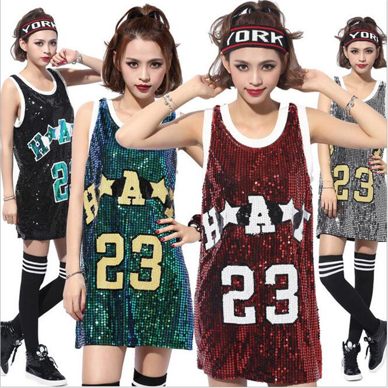 2016 Fashion Sequin Tops Letter 23 Printed Loose Women Top Sequins T-shirt Casual Ladies Paillette DS Modern Jazz Dance Costume