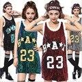 2016 Moda Lantejoula Tops Carta 23 Impresso Mulheres Soltas Top Lantejoulas T-shirt Ocasional Das Senhoras Paillette Moderno DS Traje de Dança Jazz