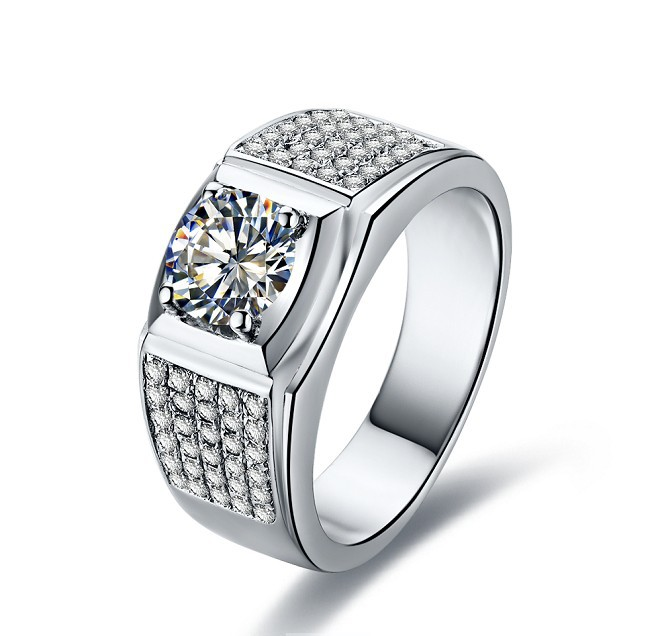 1ct Celebrity Men Jewelry Paved Synthetic Diamonds Ring