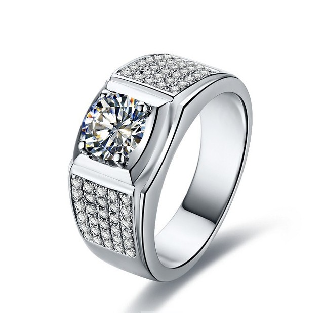 1ct Celebrity Men Jewelry Paved Synthetic Diamonds Ring For Man Engagement 925 Sterling Silver