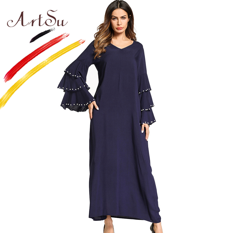 ArtSu Fashion Party Dress Women 2018 New V Neck Pearl Beading Flare Sleeve Dress Robe Longue Femme Spring Autumn Maxi Dress