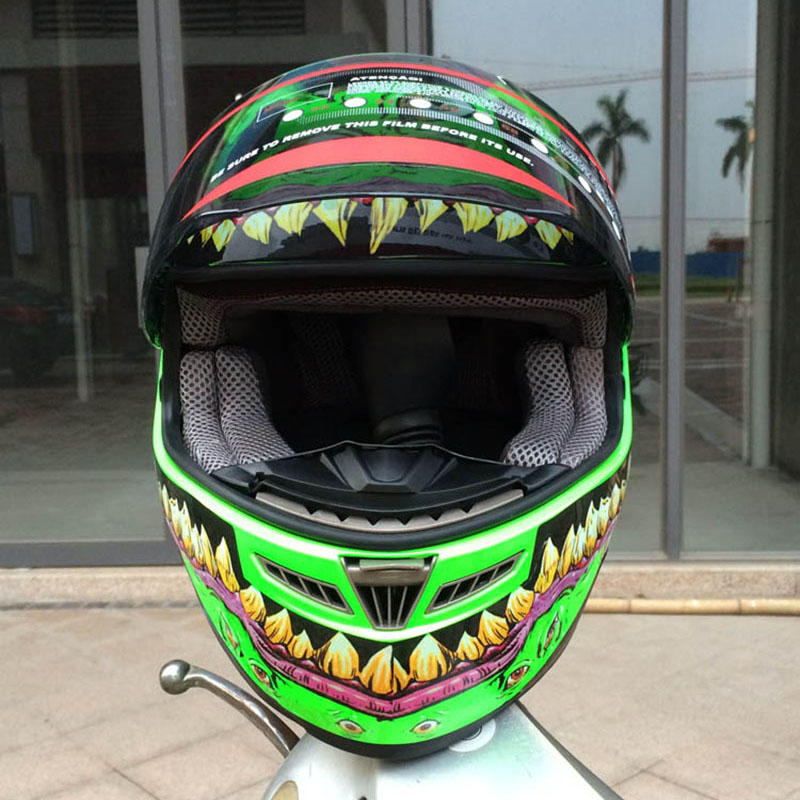 Free shipping full face motorcycle helmet with horns motocross green helmet off road professional rally racing helmet