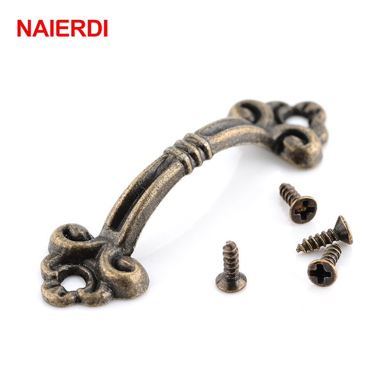 10pcs NAIERDI Handles Knobs Pendants Flowers For Drawer Wooden Jewelry Box Furniture Hardware Bronze Tone Handle Cabinet Pulls 200pcs 18 15mm hinge brass bronze color flat wholesale small hardware for wooden box case cabinet drawer door funiture fix