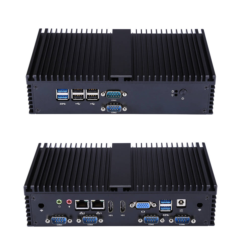 QOTOM Fanless Mini Pc With 6 RS232,Dual Gigabit LAN,support Pfsense 3855U 3865U Mini Desktkop,RS485 OPtional,AES NI Q500X