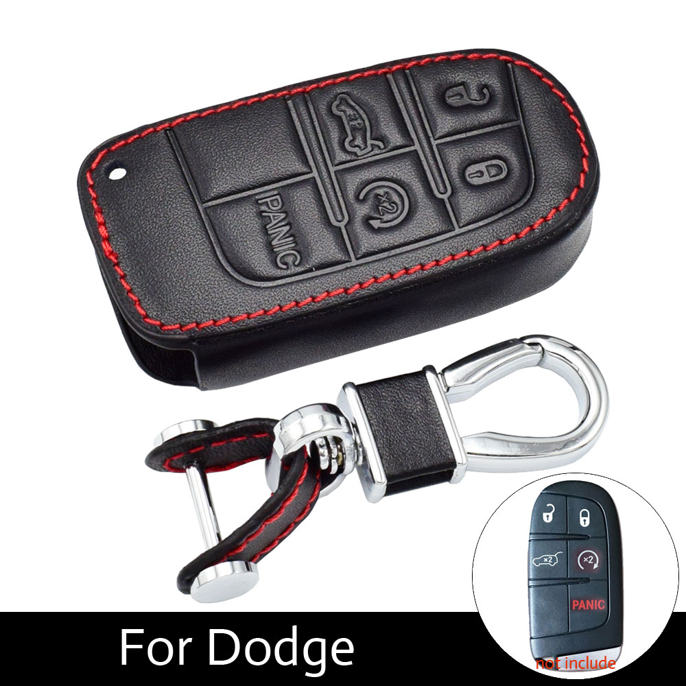 5 Buttons Leather Key Cases Fob Cover For Fiat Dodge Charger Dart Challenger Durango Jeep Grand Cherokee Chrysler 300 Smart Keys