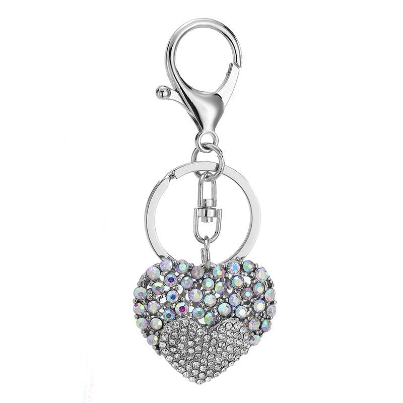 2018 New Fashion Crystal Rhinestone Silver Heart Keychain