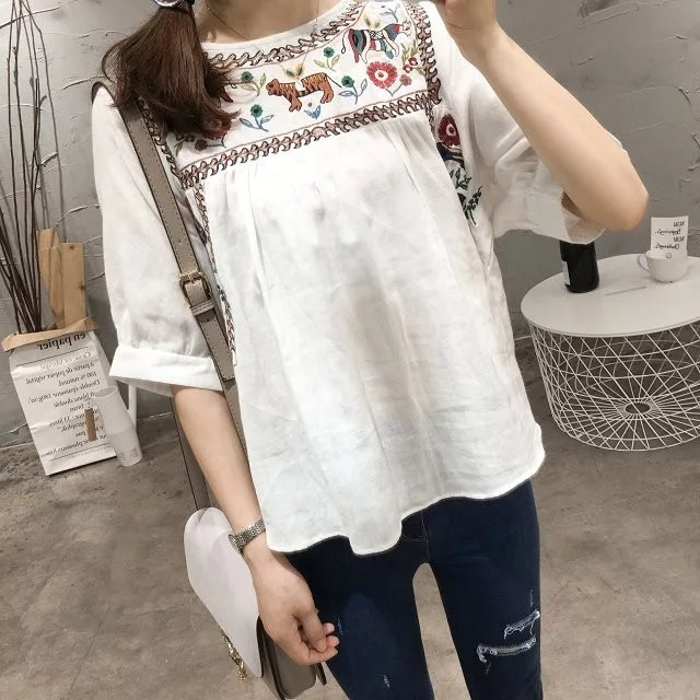 Women's Clothing Cheshanf High Quality Casual Loose White Ethnic Embroidery Blouse Women Summer Shirts Fashion Half Sleeve O Neck Shirt Female