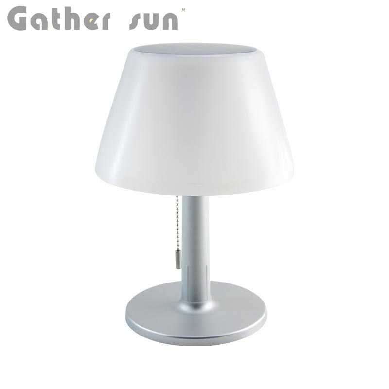 LED Solar Reading Lamp With Pull Switch Lamp Shade Stainless Steel Body High Quality Solar Power Desk/Table Lights Wireless