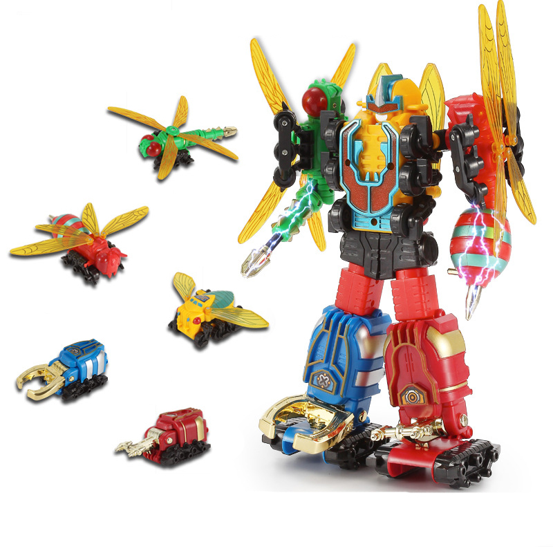 Transformation insects Deformation Action Figure Robot Children's Educational Toys five-in-one Combination Power Ranger Set deformation of sea monster toy group underwater slasher 6 in 1 changed one piece suit educational toys
