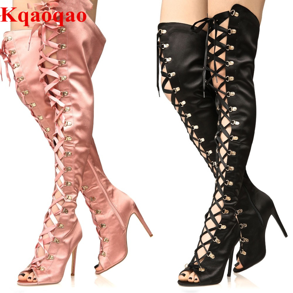 Brand Peep Toe Women Boots Over Knee Cross Tied Women Fashion Shoes Sexy High Thin Heel Lady Shoes Metal Buckle Zapatos Mujer luxury brand shoes women peep toe