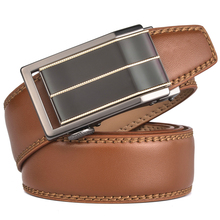 New Automatic Buckle Luxury Genuine Leather Brown Belt For Men