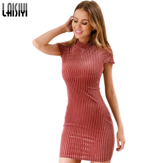 LAISIYI Chinese Style Elegant Bodycon Dress Autumn Short Sleeve Backless  Sexy Lace Up Velvet Dresses Women e365830fbfee