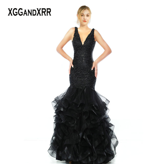 9b8061b5e4 Sexy V Neck Mermaid Long Black Evening Dresses 2019 Beaded Sequin Appliques  Open Back Prom Dress Backless Formal Party Gown