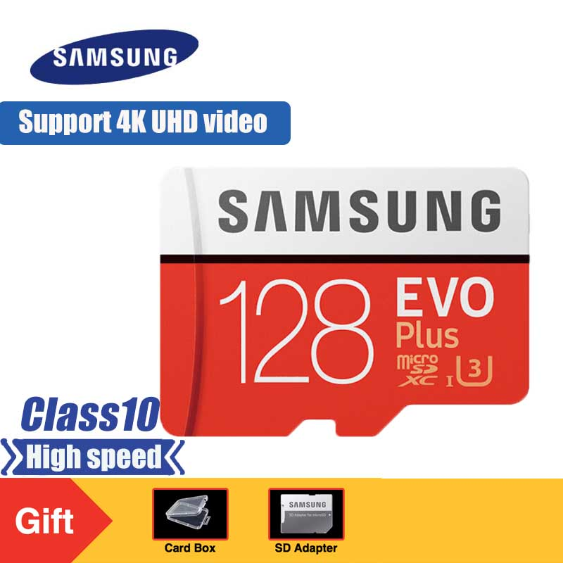 SAMSUNG EVO Plus Micro SD Memory Card 128GB Class10 MicroSDXC U3 UHS-I TF Card 4K HD With Adapter For Smartphone Tablet Etc
