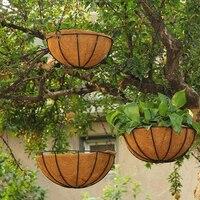 3pcs Hanging Coconut Basket Planter Flower Pot Back Black Metal Frame Hanger for Home Decoration Accessories