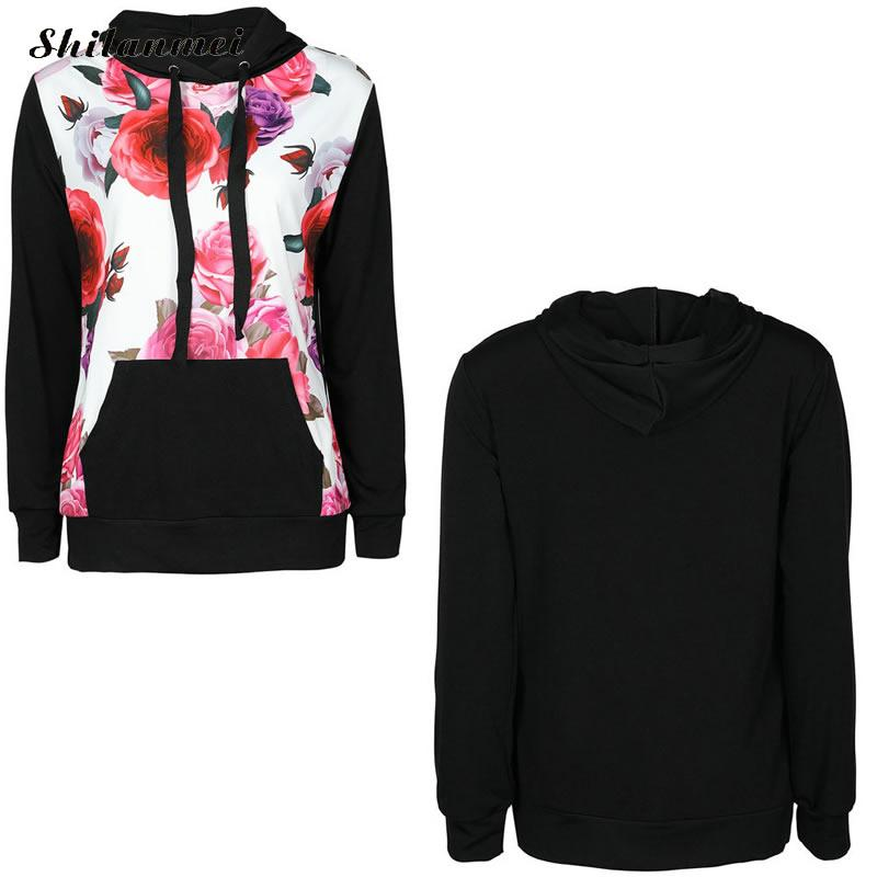 New Winter Fashion Women Floral Print Autumn Spring Jumper Women Long Sleeve Top Hoodies pink Sweatshirts Hooded Outerwear 3
