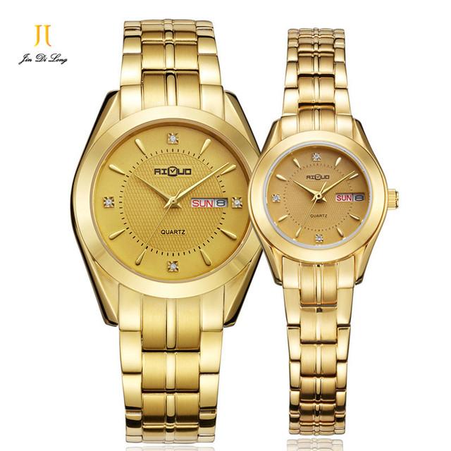 Marca 1 Par Relógio Amantes de Luxo Moda Casual Homens & das Mulheres de Ouro Relógio de Pulso de Quartzo Calendário de Safira À Prova D' Água 50 M japão Movt